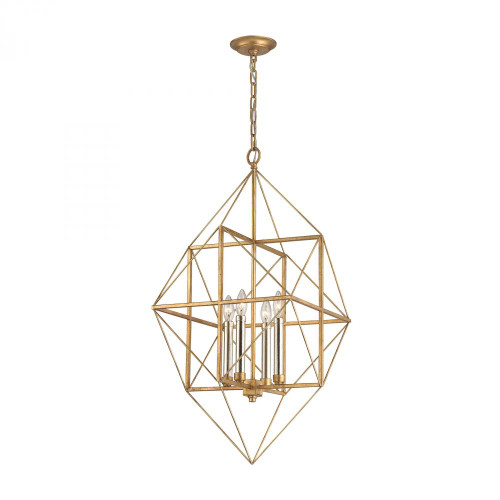 Connexions 4 Light Pendant In Antique Gold And Silver Leaf 1141-005