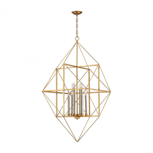 Connexions 8 Light Pendant In Antique Gold And Silver Leaf 1141-006