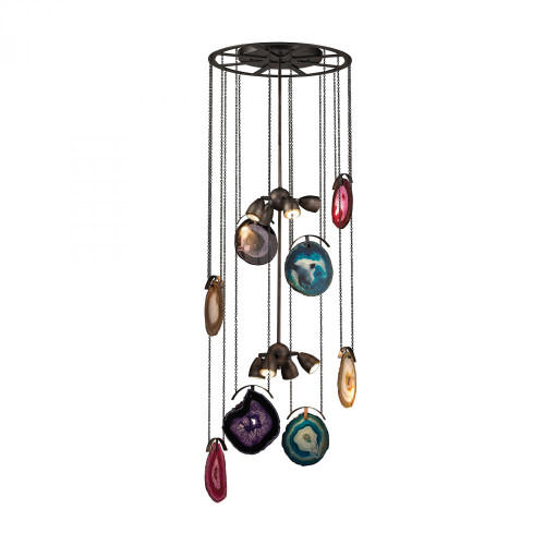 Gallery 8 Light Chandelier In Oil Rubbed Bronze And Brushed Slate 1141-007