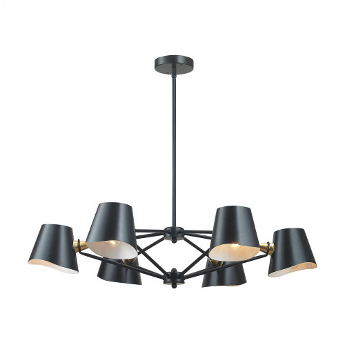 Webre 6 Light Chandelier In Matte Black And Gold Leaf 1141-018