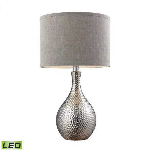 Hammered Chrome Plated LED Table Lamp With Grey Faux Silk Shade D124-LED