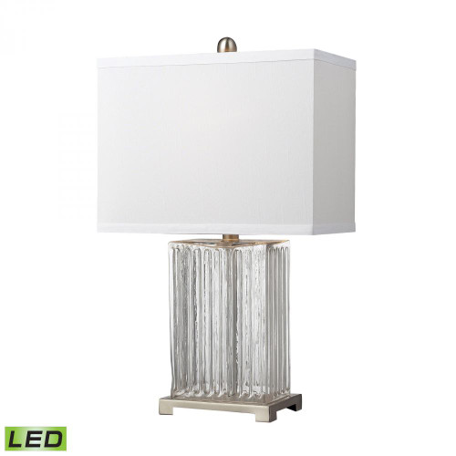 Ribbed Clear Glass LED Table Lamp in Brushed Steel D140-LED