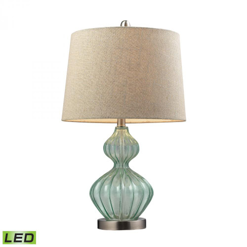 Smoked Glass LED Table Lamp In Pale Green With Metallic Linen Shade D141-LED
