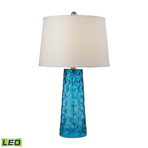 Hammered Glass LED Table Lamp in Blue With Pure White Linen Shade D2619-LED