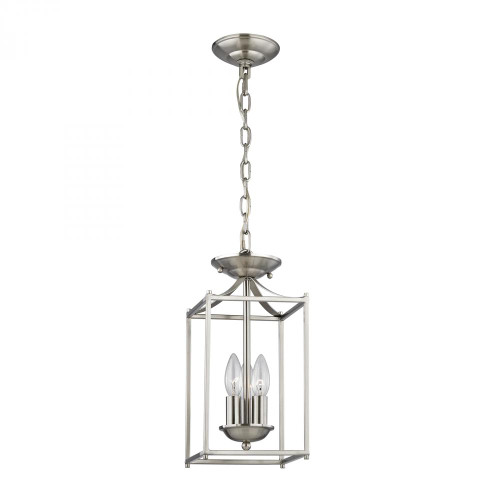 Foyer Collection 3 Light Pendant In Brushed Nick 7x14.75 7713FY/20