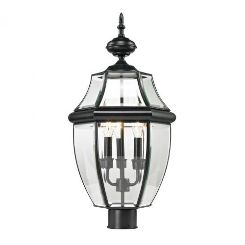 Ashford 3 Light Exterior Post Lantern In Black 8603EP/60