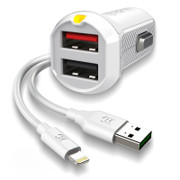EFM Car Charger 3.4A Dual USB With MFi Lightning Cable - White