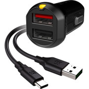 EFM Car Chgr 3.4A Dual USB Rapid Charge W/Reverse Type C Cable - Black