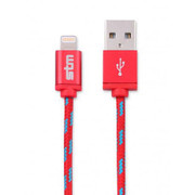 STM Braided Sync/Charge Cable with Lightning Connector (1 m) - Red