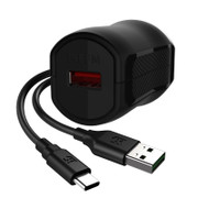 EFM Wall Charger 3.4A USB Rapid Charger W/Reverse Type C Cable - Black