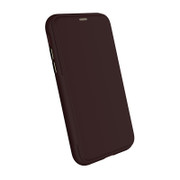 EFM Monaco D3O Leather Wallet Case iPhone XR - Mulberry/Gold