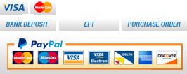 Bank Deposit, Visa/Mastercard, Paypal