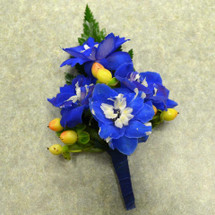 Blue Delphinium Boutonniere with Hypericum (BOUT050)