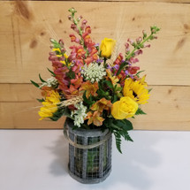 Rustic Wooden Lantern (SCF17S57) by Savilles Country Florist. Flower delivery to Orchard Park, Hamburg, West Seneca, East Aurora, Buffalo, NY and surrounding suburbs.