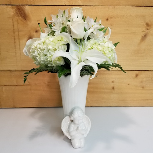 Angel Vase (SCF17s60) by Savilles Country Florist. Flower delivery to Orchard Park, Hamburg, West Seneca, East Aurora, Buffalo, NY and surrounding suburbs.