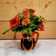 Give a Hoot (SCF17F01) Fall flowers, roses, gerbera daisies from Savilles Country Florist, Orchard Park , NY with same day delivery throughout Buffalo NY and surrounding area