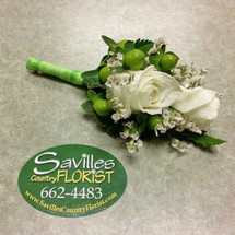 Boutonniere 2 white sh roses and hypericum