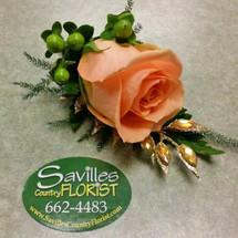 Boutonniere Peach Rose Gold Gems