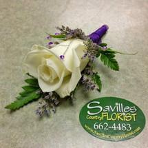 Boutonniere White Rose Purple gems & Wrap