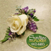 Boutonniere White Rose Purple leaves & wrap