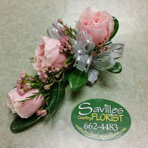 Corsage 3 Pink Sweetheart Roses with waxflower
