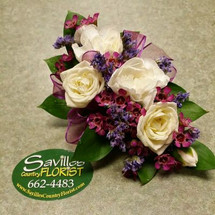 Corsage 3 White Sweetheart Roses & Mini Carnations