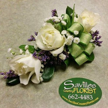 Corsage 3 White Sweetheart Roses with Limonium