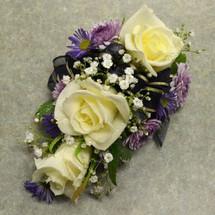 Corsage with 3 White Sweetheart Roses & Purple Monte
