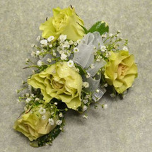 Corsage with 4 Lt Green Sweetheart Roses