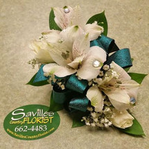 Corsage with Alstromeria and White SH Roses