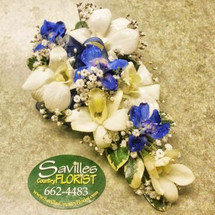 Corsage with Dendrobium Orchids and Delphinium