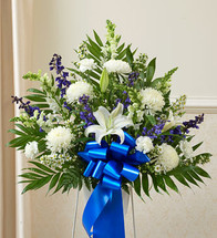 Heartfelt Sympathies Blue & White Arrangement (91266)