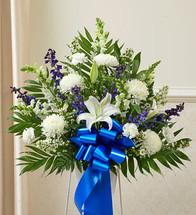 Heartfelt Sympathies Blue & White Arrangement  by Savilles Country Florist. Flower delivery to Orchard Park, Hamburg, West Seneca, East Aurora, Buffalo, NY and surrounding suburbs.