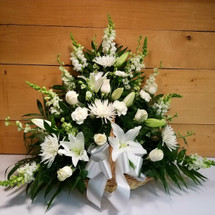 Thoughts and Prayers White Fireside Basket by Savilles Country Florist. Flower delivery to Orchard Park, Hamburg, West Seneca, East Aurora, Buffalo, NY and surrounding suburbs.