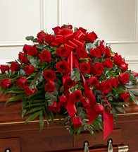 Red Rose Half Casket Spray by Savilles Country Florist. Flower delivery to Orchard Park, Hamburg, West Seneca, East Aurora, Buffalo, NY and surrounding suburbs.