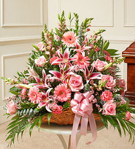 Pink Fireside Basket by Savilles Country Florist. Flower delivery to Orchard Park, Hamburg, West Seneca, East Aurora, Buffalo, NY and surrounding suburbs.