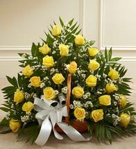 Yellow Rose Fireside Basket (91214)