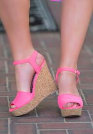 Look On The Bright Side Wedge - Neon Pink***FINAL SALE***