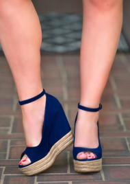 Cape Cod Wedge - Navy***FINAL SALE***