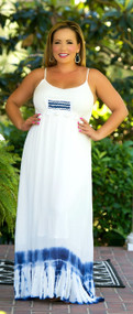Dyeing To See You Maxi - Cream & Blue***FINAL SALE***