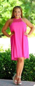 Stop And Smell The Roses Dress - Hot Pink***FINAL SALE***