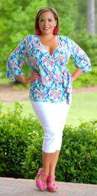 Hawaiian Orchid Wrap Top - Mint***FINAL SALE***