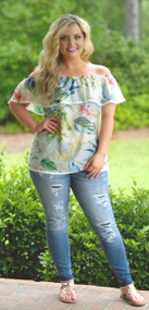 Rain Forest Romance Top - White***FINAL SALE***