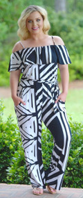 Abstract Thoughts Jumpsuit - Navy & White***FINAL SALE***