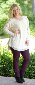 Stitch And Tell Top- Oatmeal***FINAL SALE***