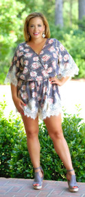 Bring Me Roses Romper - Grey***FINAL SALE***