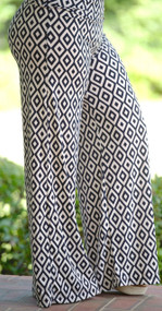 Hit All The Right Points Palazzo Pants - Navy/Cream***FINAL SALE***