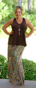 Carefree And Caffeinated Bow Back Tank - Brown***FINAL SALE***