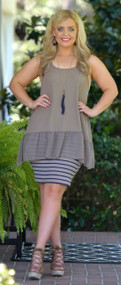 Walk The Line Pencil Skirt - Navy / Taupe***FINAL SALE***