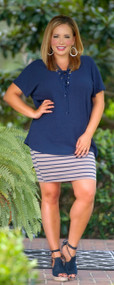 Woven World Top - Navy
